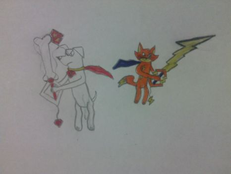 Krypto and Streaky with Keyblade by sonofss2-version2