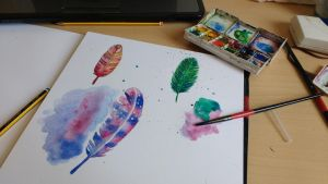 Watercolor feathers attempt #1 by freenna