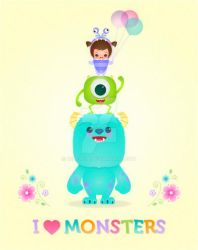 Kawaii Monsters Inc Monsters University poster by minercia