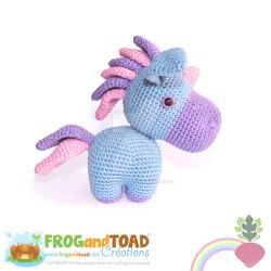 PROSPER - Unicorn Licorne Amigurumi - Side View by FROG-and-TOAD