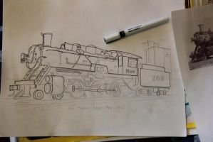 Locomotive drawing WIP by prestonthecarartist