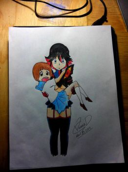 Kill la Kill - Ryuko Matoi and Mako Scribble by LESHUU