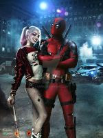 DeadPool and Harley by GOXIII