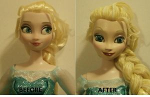 Before and After  Elsa Doll from Frozen by paintingbyjackie