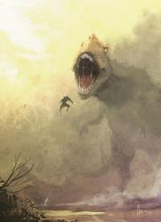 Wolverine vs T-rex by nJoo