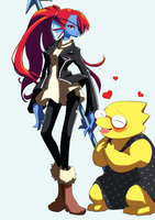 Undyne and Alphys by unousaya