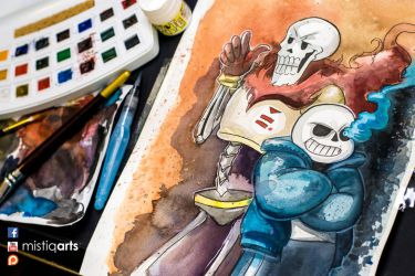 Sans and Papyrus by Mistiqarts