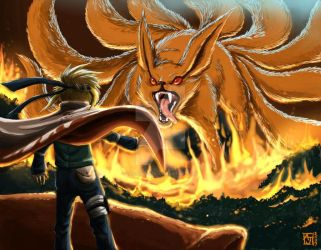 Showdown - Yondaime vs Kyuubi by Orcagirl2001