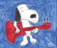 Snoopy playing a guitar by dth1971