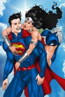 Superman-WonderWoman Mwwwah-Color by EJMorges