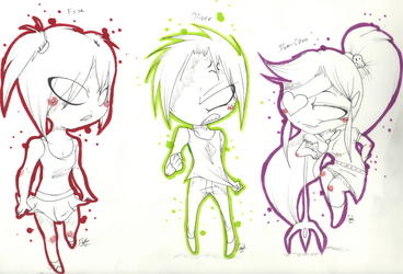 chibi OC sketches by DroseAttack