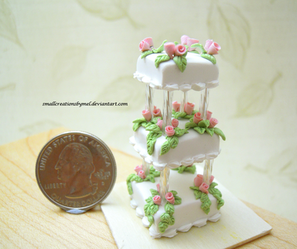 Pink Rose Wedding Cake Size Comparison by SmallCreationsByMel
