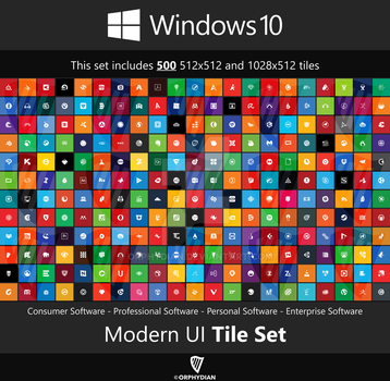 Windows 10 Modern UI Tile Set Updated by Orphydian