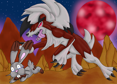 Hunting under the bloodmoon by ShedragonArtist
