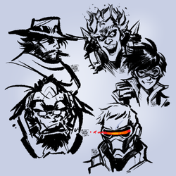 Overwatch sketches 01 by MichaelMayne