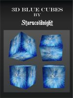 3D blue cubes by starscoldnight by StarsColdNight