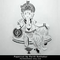 Papercut - Ganesh - Ganpati - Paper - Art - india by ParthKothekar