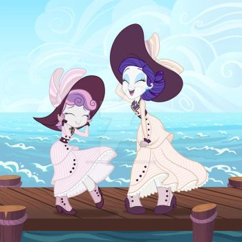 Rarity and Sweetie Belle Titanic Dresses by SapphireGamgee
