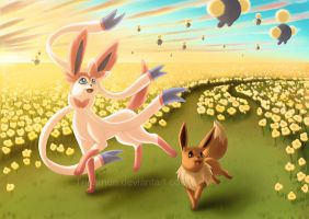 Sylveon and Eevee by Trinamon