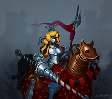 Glitch Knight Starbound Girl Armor Robot Horse by Xianetta