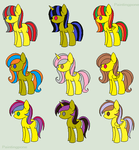 Yellow Adoptable Pony Pack (CLOSED) by BlueBookWard