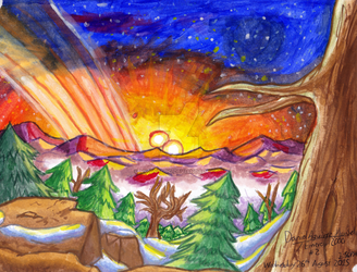 ~Watercolour - Sunrise Over a Cold Landscape~ by Nk-Cyborg