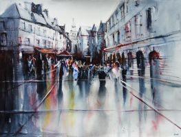 Sarlat apres la pluie - Watercolor painting by nicolasjolly