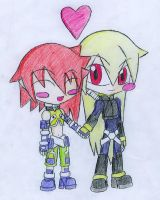 Omega MKII and Neige in Chibi by CrystalViolet500