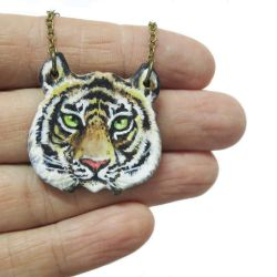 Tiger Necklace - acrylic on polymer clay by KawaiiCulture