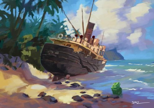 Beached Shipwreck by tohdraws