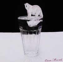 Anamorphic climate change (Colored pencil drawing) by Oscar-Manuel