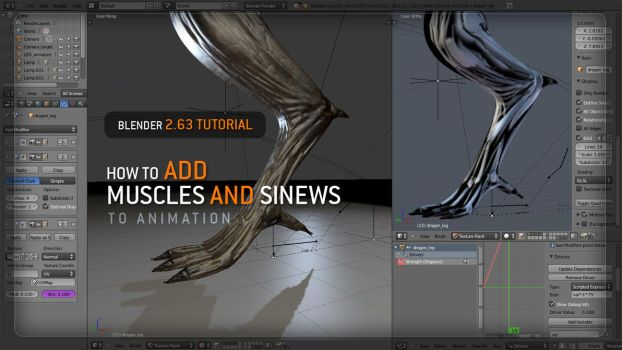 BLENDER ANIMATION TUTORIAL. MUSCLES AND SINEWS by Vitaly-Sokol