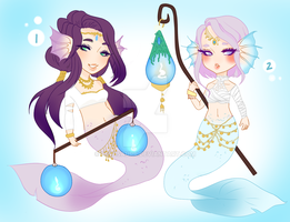 Adoptables Set (OPEN AUCTION) - Mermaids 2/2 by Kewisaurr
