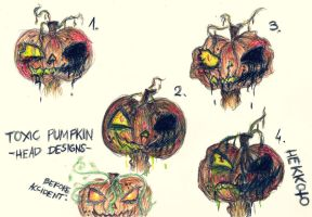 Toxic Pumpkin -head concepts- + before accident by Hekkoto