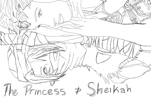 The Princess and Sheikah - Sketch by boxthissideup