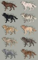 Semi-Realistic Wolf Adopts - Set 24 - OPEN by Therbis