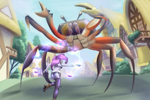 Rarity vs A Giant Crab by jay156