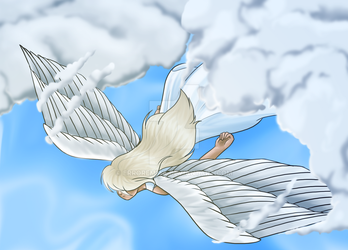 Angel Emerging From The Clouds by ErrorEmma