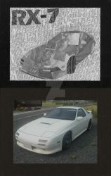 RX-7 newsprint collage by loquid