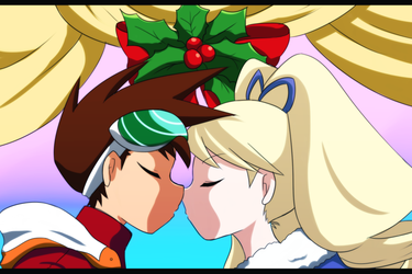 Megaman Starforce: Geo and Luna under a mistletoe by meteorstom
