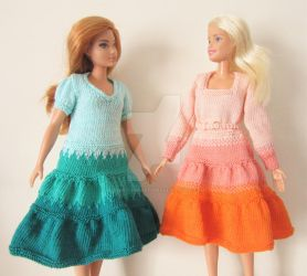 1:6th scale Dip Dye Dresses by buttercupminiatures