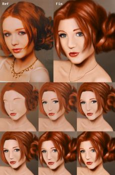 Girl with red hair - Step by step by ChibiSandy0710