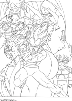 The Legend of Vegeta Lineart by JamalC157