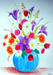 Watercolor Flower Vase II by vendoritza