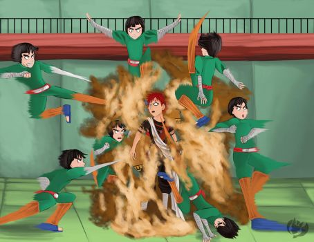 Narutober 3-Rock Lee vs Gaara by Kenisu-of-Dragons
