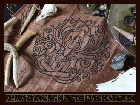 Cernunnos Altar Cloth: Celtic Pagan Horned God by ImogenSmid
