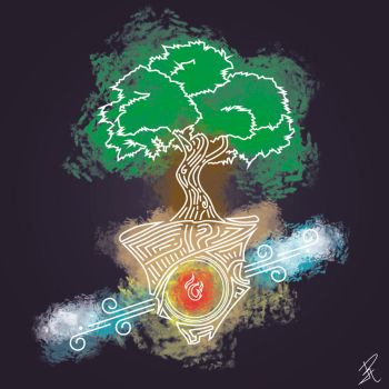 Tree of life, fire and wind by Oklap