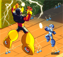 Megaman vs Elecman by Seonidas