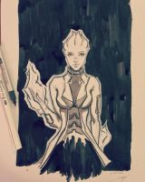 Inktober Mass Effect fan art - Biotic by Shaya-Fury