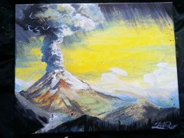 volcano painting by zachraw